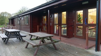 Picnic tables on the decking