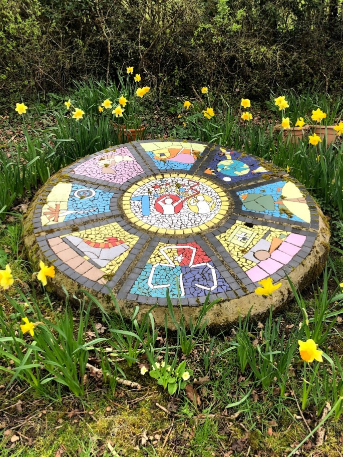 Trefoil 100 year mosaic at Somermead, Outdoor Camping and Activity Venue