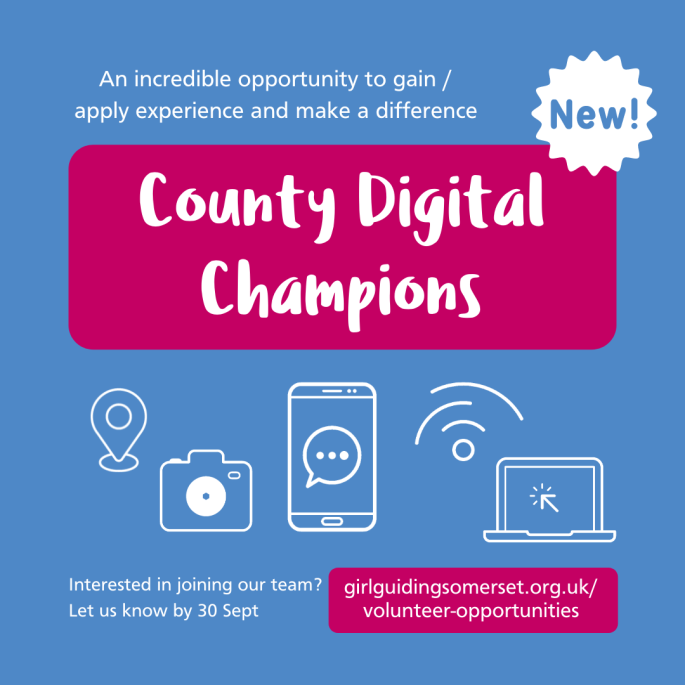An incredible opportunity to gain / apply experience and make a difference: County Digital Champions. Interested in joining our team? Let us know by 30 Sept. https://girlguidingsomerset.org.uk/volunteer-opportunities